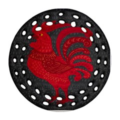 Red fire chicken year Ornament (Round Filigree)