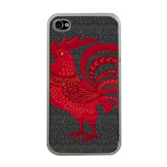 Red fire chicken year Apple iPhone 4 Case (Clear)