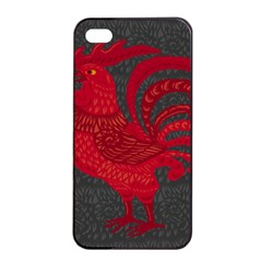 Red fire chicken year Apple iPhone 4/4s Seamless Case (Black)