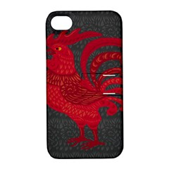Red fire chicken year Apple iPhone 4/4S Hardshell Case with Stand