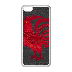 Red fire chicken year Apple iPhone 5C Seamless Case (White)