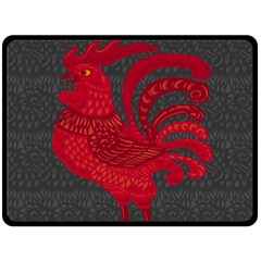 Red fire chicken year Double Sided Fleece Blanket (Large)