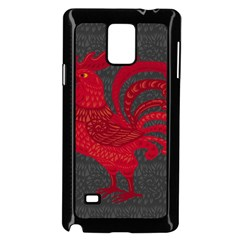 Red fire chicken year Samsung Galaxy Note 4 Case (Black)