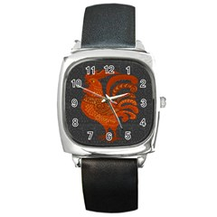 Chicken year Square Metal Watch