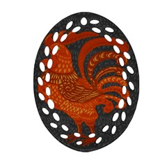 Chicken year Oval Filigree Ornament (Two Sides)