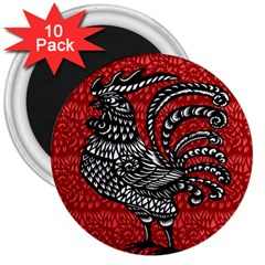 Year of the Rooster 3  Magnets (10 pack)