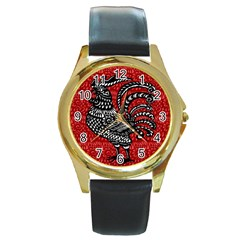 Year of the Rooster Round Gold Metal Watch