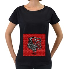 Year of the Rooster Women s Loose-Fit T-Shirt (Black)
