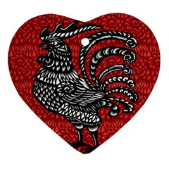 Year of the Rooster Heart Ornament (Two Sides)