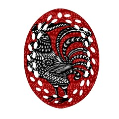 Year of the Rooster Oval Filigree Ornament (Two Sides)