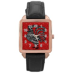 Year of the Rooster Rose Gold Leather Watch