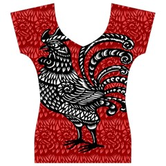 Year of the Rooster Women s V-Neck Cap Sleeve Top