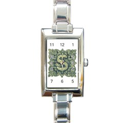 Money Symbol Ornament Rectangle Italian Charm Watch
