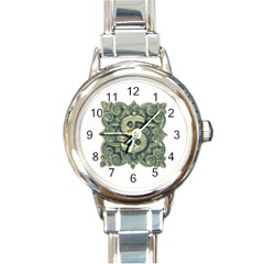 Money Symbol Ornament Round Italian Charm Watch