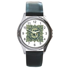 Money Symbol Ornament Round Metal Watch