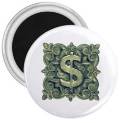Money Symbol Ornament 3  Magnets