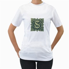 Money Symbol Ornament Women s T-Shirt (White) (Two Sided)