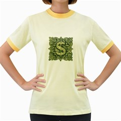 Money Symbol Ornament Women s Fitted Ringer T-Shirts