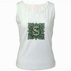 Money Symbol Ornament Women s White Tank Top