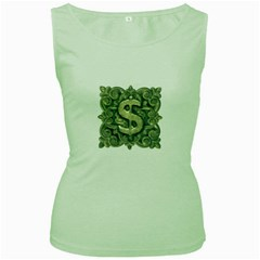 Money Symbol Ornament Women s Green Tank Top