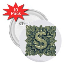 Money Symbol Ornament 2.25  Buttons (10 pack)