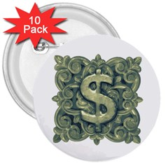 Money Symbol Ornament 3  Buttons (10 pack)