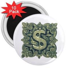 Money Symbol Ornament 3  Magnets (10 pack)