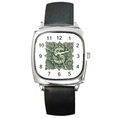 Money Symbol Ornament Square Metal Watch