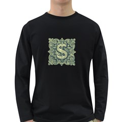 Money Symbol Ornament Long Sleeve Dark T-Shirts