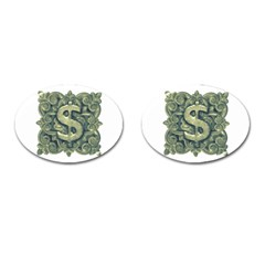 Money Symbol Ornament Cufflinks (Oval)