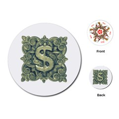 Money Symbol Ornament Playing Cards (Round)