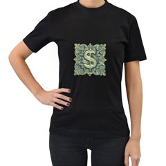 Money Symbol Ornament Women s T-Shirt (Black)