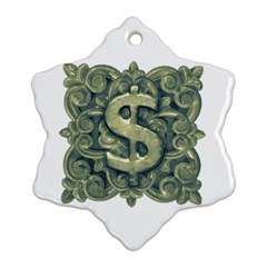 Money Symbol Ornament Snowflake Ornament (Two Sides)