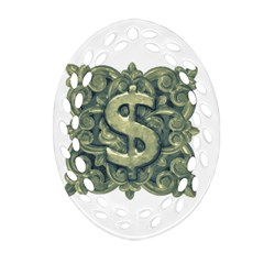 Money Symbol Ornament Oval Filigree Ornament (Two Sides)