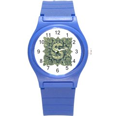 Money Symbol Ornament Round Plastic Sport Watch (S)