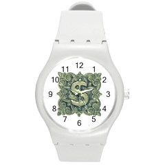 Money Symbol Ornament Round Plastic Sport Watch (M)