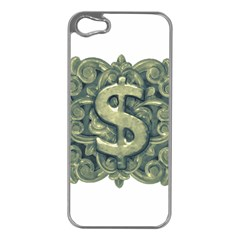 Money Symbol Ornament Apple iPhone 5 Case (Silver)