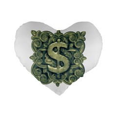 Money Symbol Ornament Standard 16  Premium Heart Shape Cushions