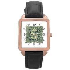 Money Symbol Ornament Rose Gold Leather Watch