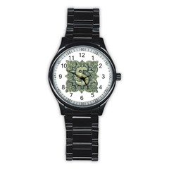 Money Symbol Ornament Stainless Steel Round Watch