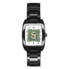 Money Symbol Ornament Stainless Steel Barrel Watch