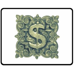 Money Symbol Ornament Double Sided Fleece Blanket (Medium)