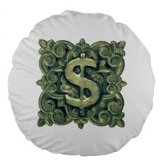 Money Symbol Ornament Large 18  Premium Flano Round Cushions