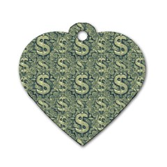 Money Symbol Ornament Dog Tag Heart (Two Sides)