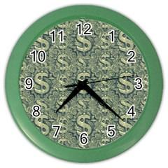 Money Symbol Ornament Color Wall Clocks