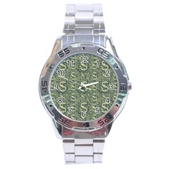 Money Symbol Ornament Stainless Steel Analogue Watch