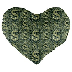Money Symbol Ornament Large 19  Premium Heart Shape Cushions
