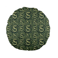 Money Symbol Ornament Standard 15  Premium Flano Round Cushions