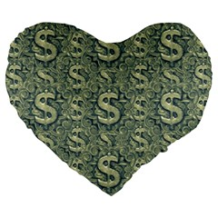 Money Symbol Ornament Large 19  Premium Flano Heart Shape Cushions