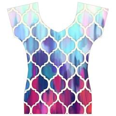 Purple moroccan mosaic Women s V-Neck Cap Sleeve Top